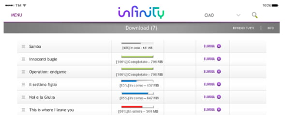 Schermata download di Infinity