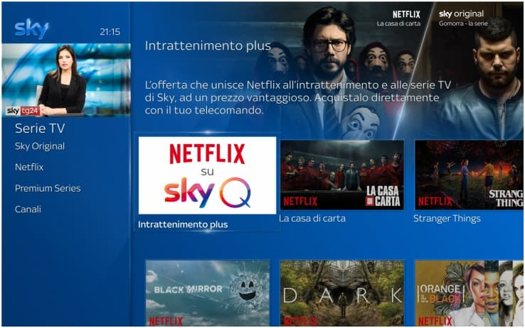 Screenshot del pannello Sky Q